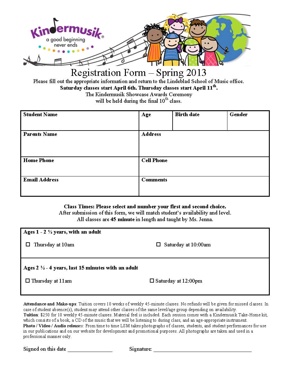 Kindermusik Registration Form